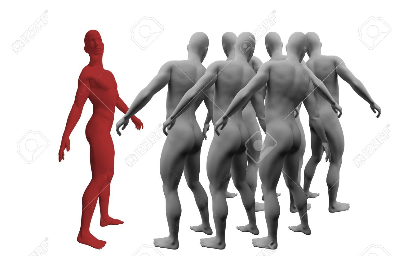 Standing Out From The Crowd made in 3d software Stock Photo - 19866656