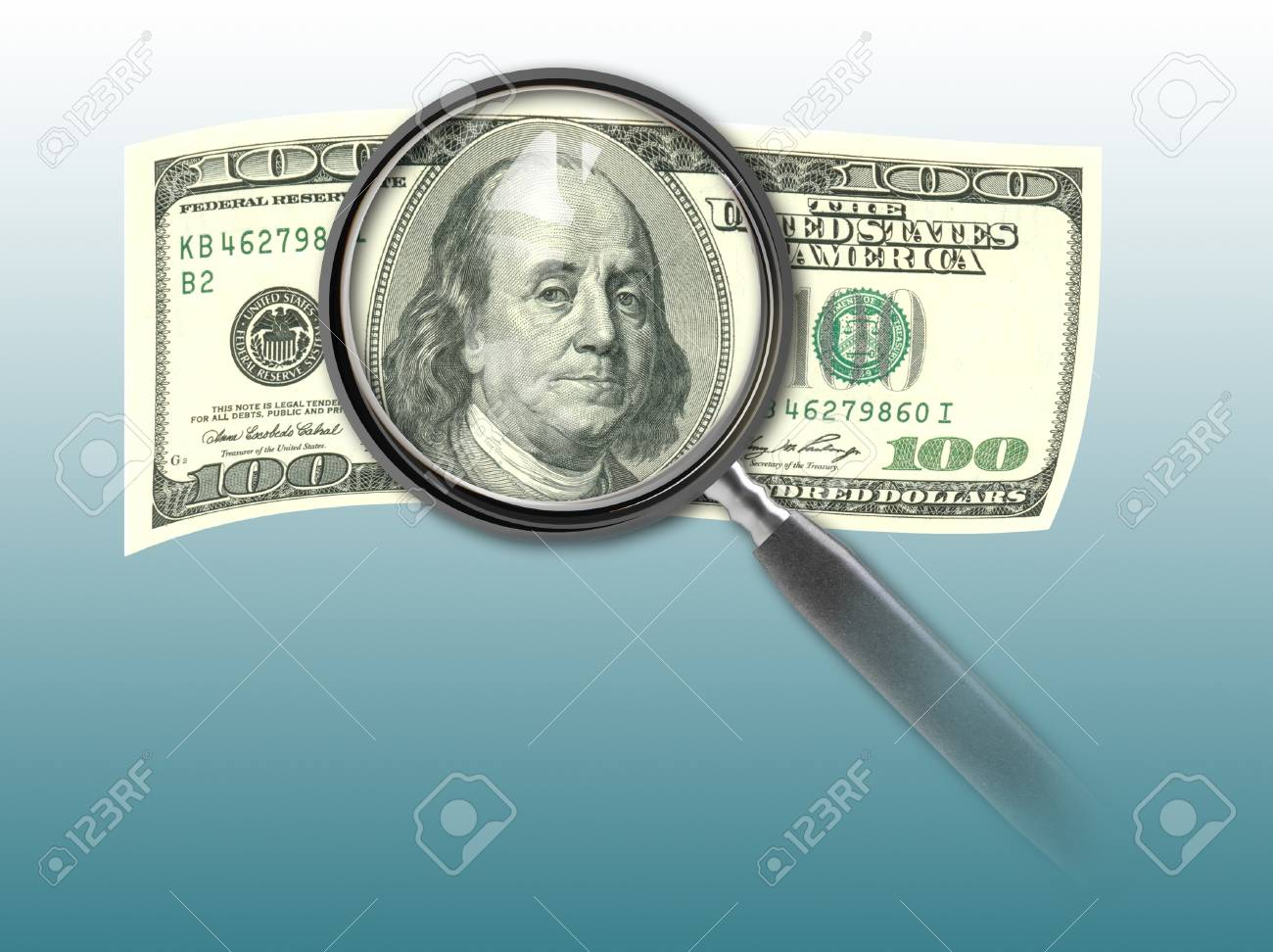 Hundred Dollar Bill And Magnifying Glmade In 2d Software Stock P O 21830008