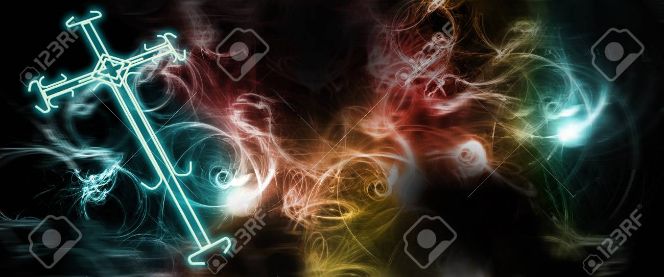 Cross of light with colorfull background Stock Photo - 21513856