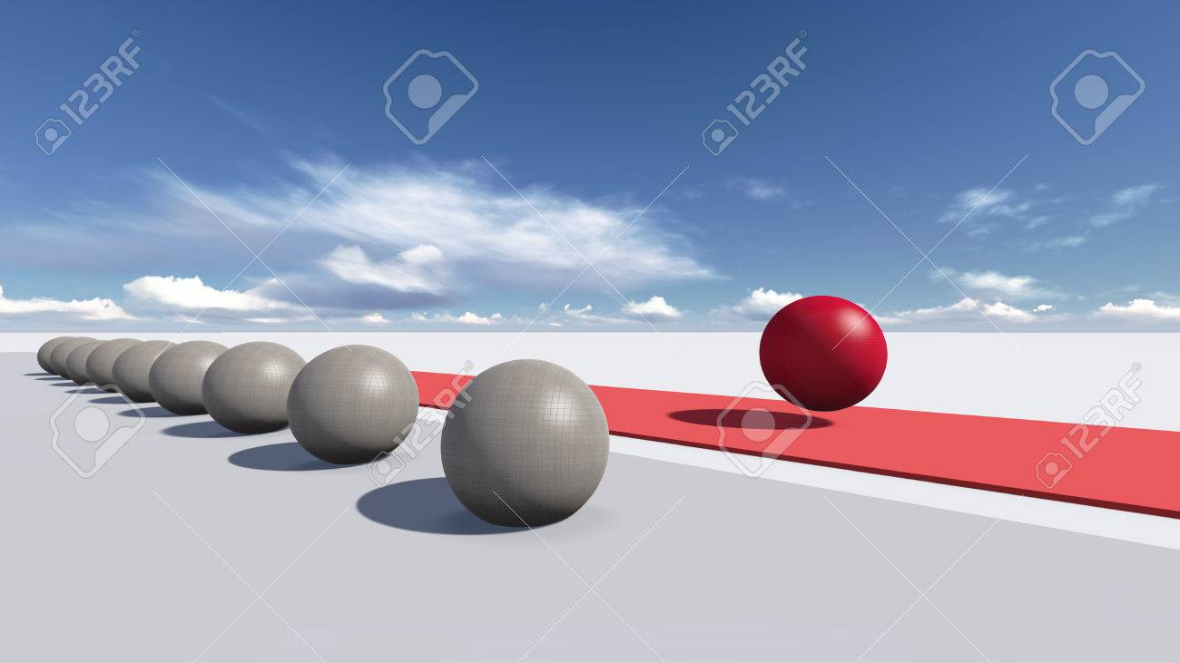 Choose correct way in balls concept made in 3d Stock Photo - 25556246