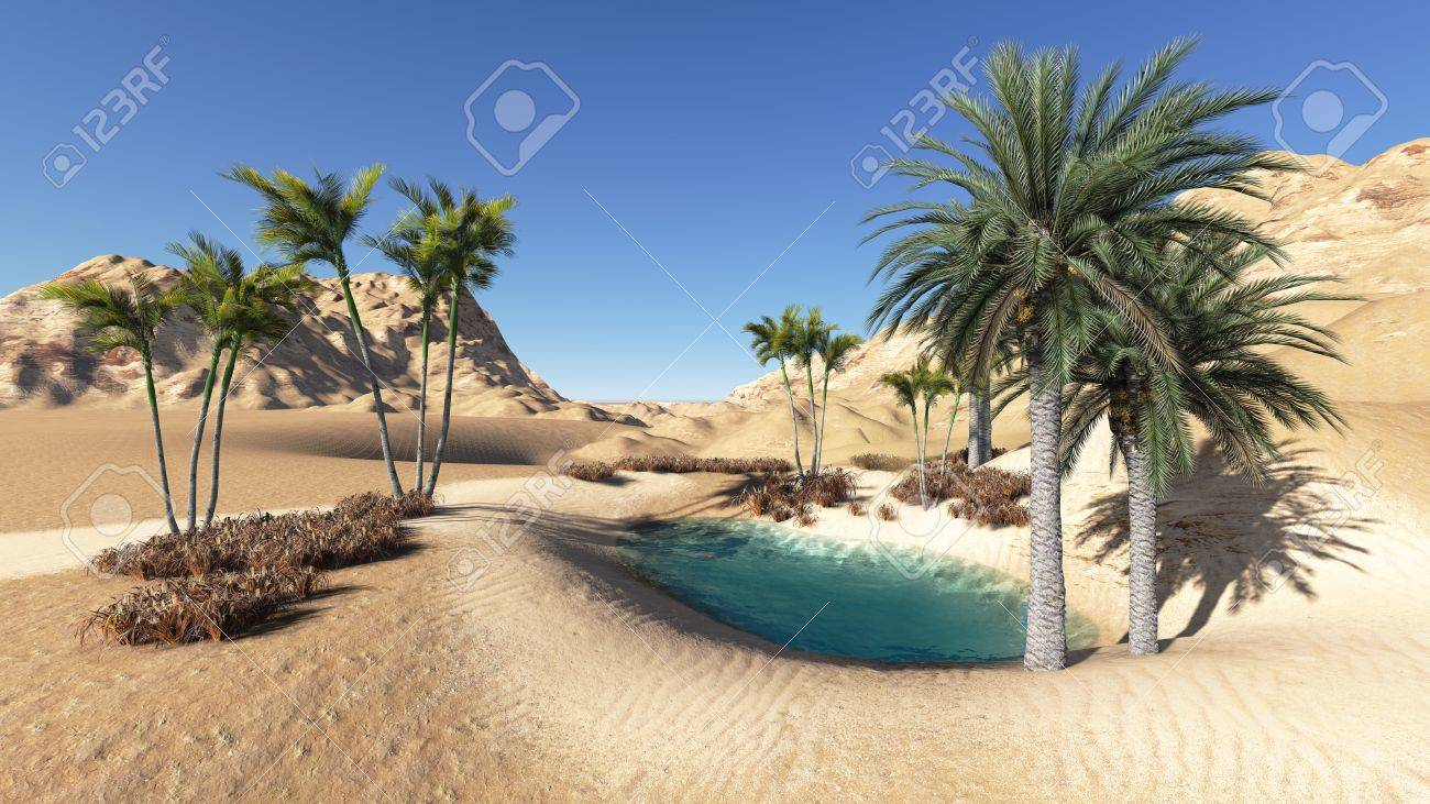 Oasis in the desert made in 3d - 25555311
