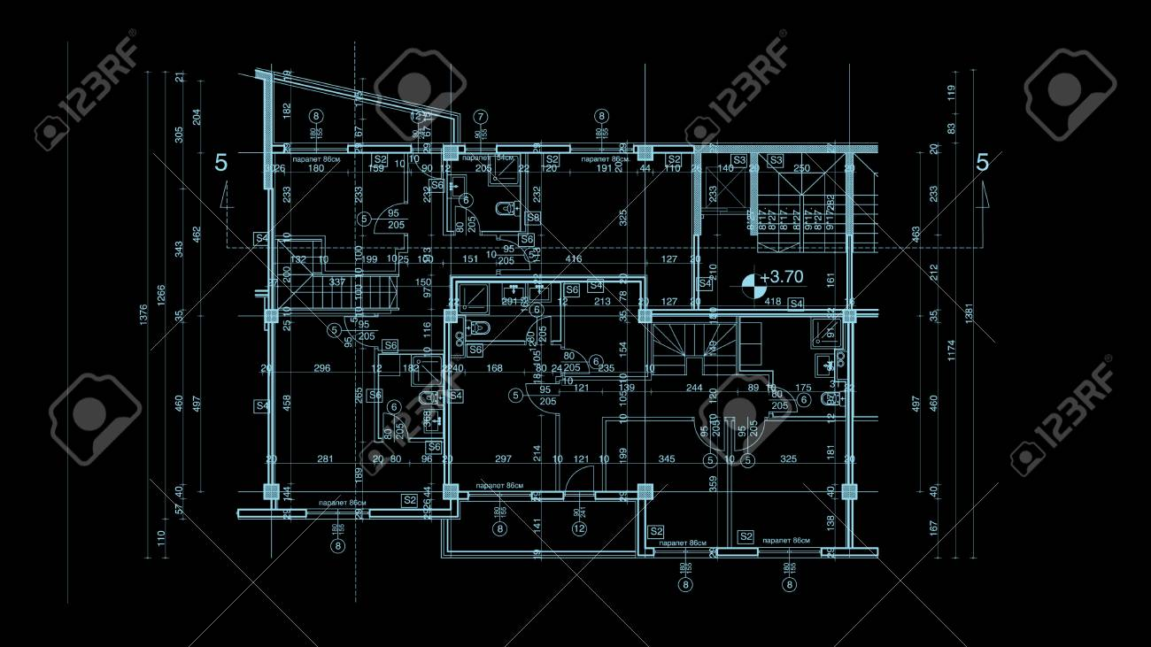 Abstract architecture blueprint on black background made in 2d abstract architecture blueprint on black background made in 2d software stock photo 33219963 malvernweather Gallery
