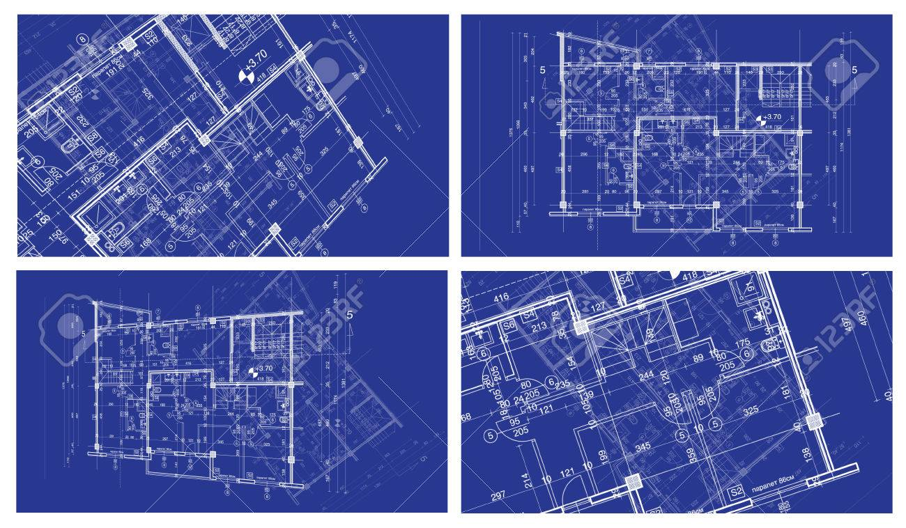 Abstract architecture background four blueprint house plan abstract architecture background four blueprint house plan with sketch ofanother blueprint in background stock photo malvernweather Image collections