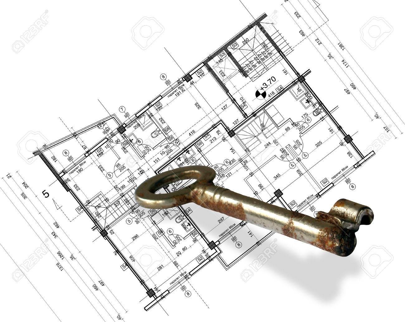 Abstrakte Architektur-Blueprint Mit Schlüssel In Der 2D-Software ...