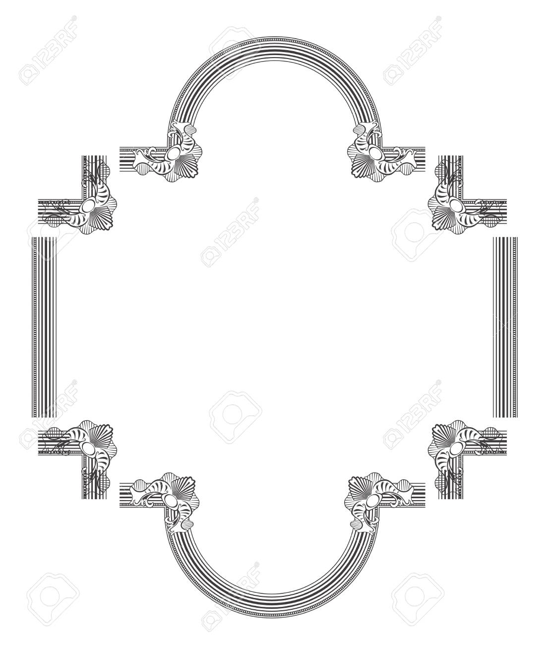 frame elements made in 2d software isolated on white