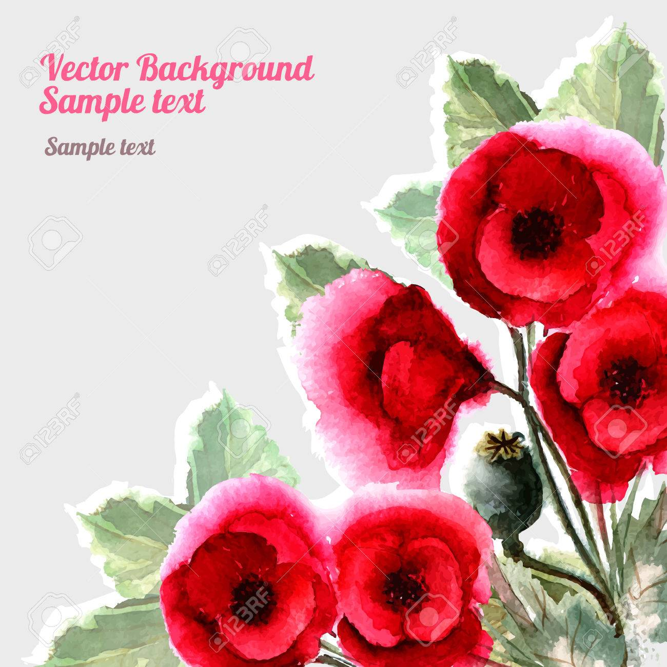 Romantic watercolor card with flowers poppies decor design greeting romantic watercolor card with flowers poppies decor design greeting cards wedding invitations marriage m4hsunfo
