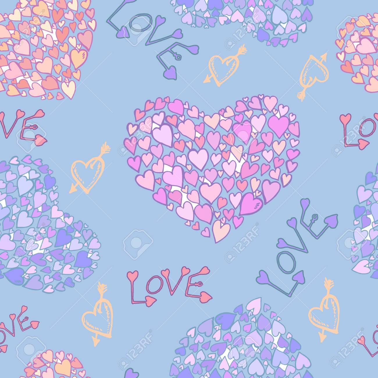 Vector Seamless Pattern Love Heart Decor Design Greeting Cards