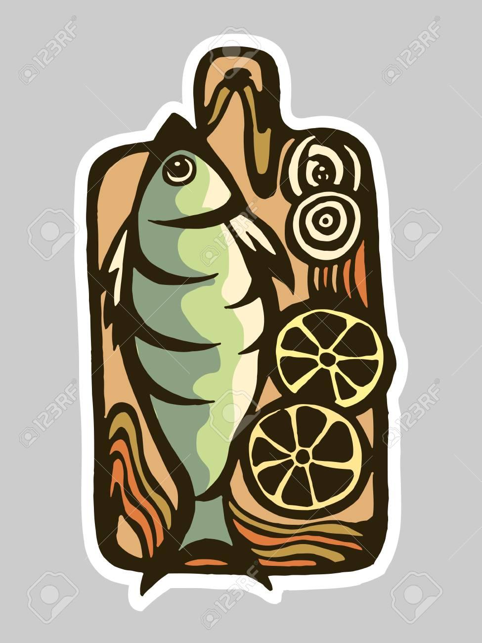 Vettoriale - Disegno Vettoriale Di Una Tavola Di Cucina Con Un Pesce ...