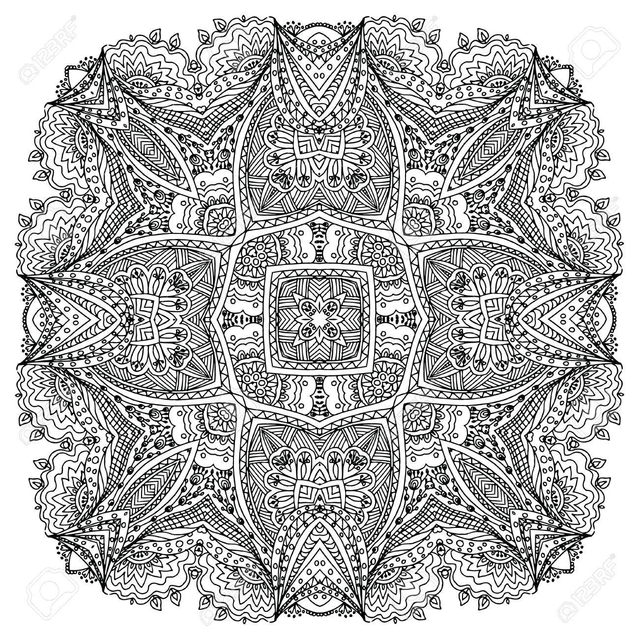 Doodle Imagen Dibujo Para Colorear La Mandalait Puede Ser Utilizado Como Un Elemento De Diseño Decorativo Para Libros Para Colorear