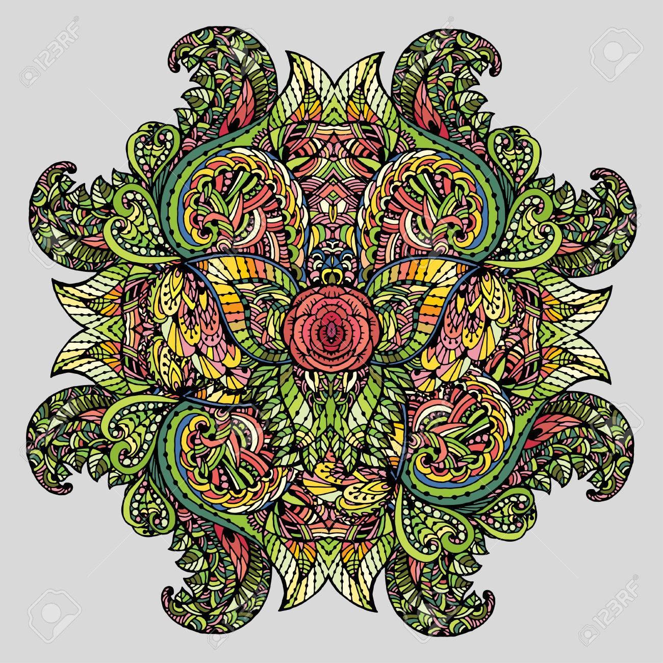 Doodle Imagen Dibujo Para Colorear La Mandalait Puede Ser Utilizado Como Un Elemento De Diseño Decorativo Para Libros Para Colorear La Ropa Para