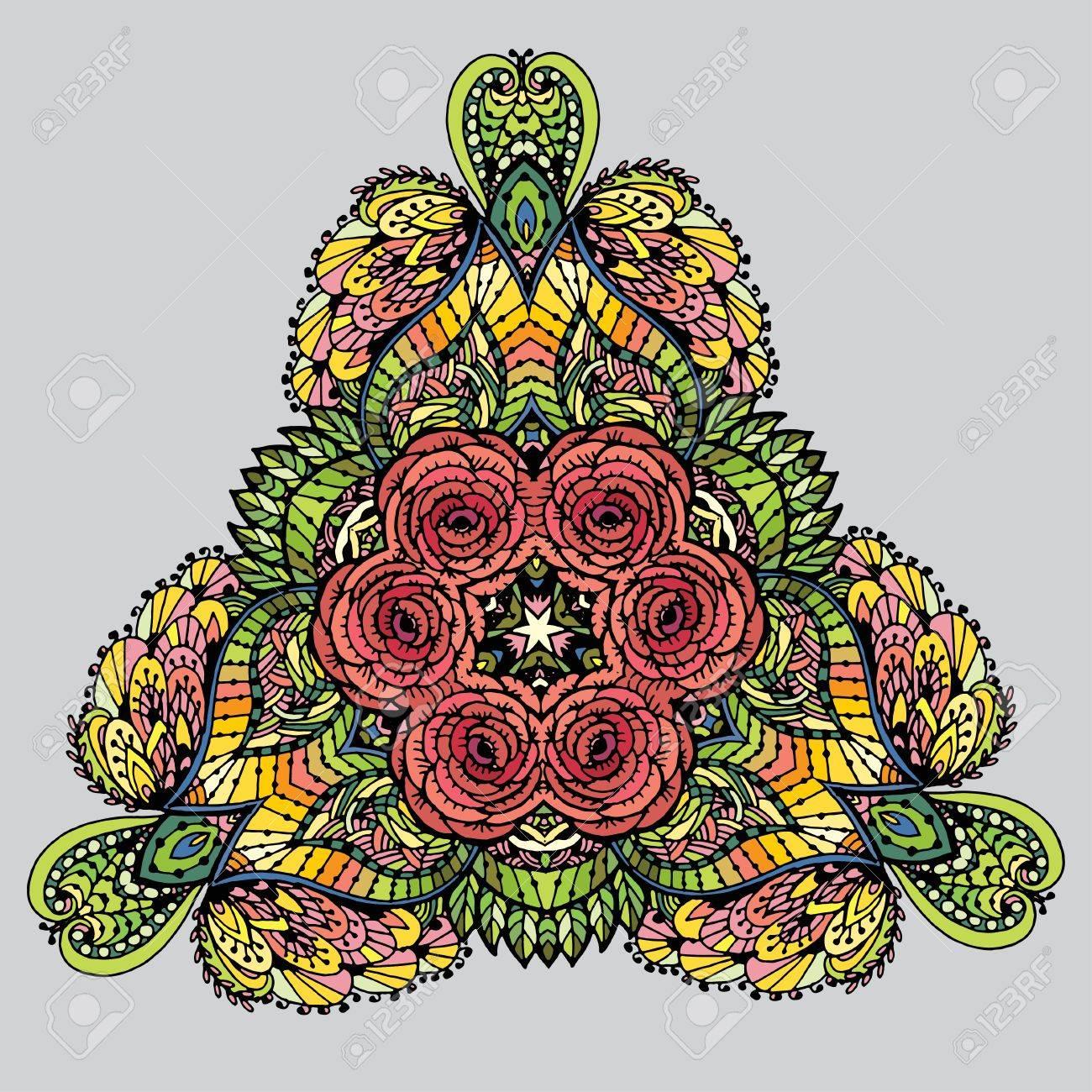 Imagen Vectorial Garabato, Dibujo Para Colorear La Mandala. Patrón ...