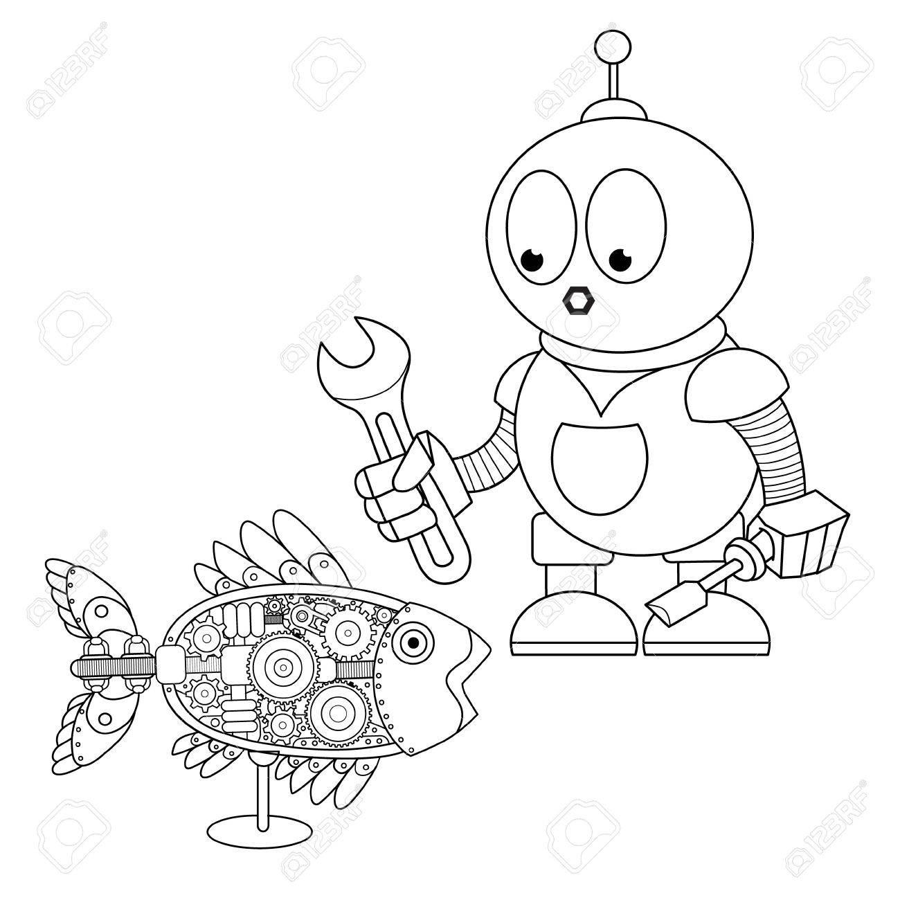 Mecánico De Robot De Dibujos Animados Con La Llave Y Destornillador De La Reparación De Pez Robot Mecánico Libro De Colorear