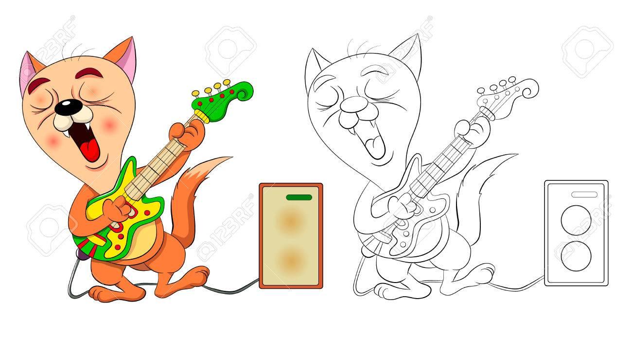 Divertida Caricatura Gato Canta Y Toca La Guitarra Eléctrica. Dibujo ...