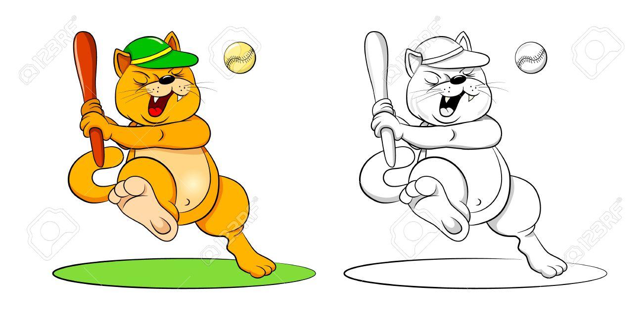 Divertido Bate De Béisbol Gato De Dibujos Animados Golpear La Bola Coloreada De La Ilustración Y Libro Para Colorear