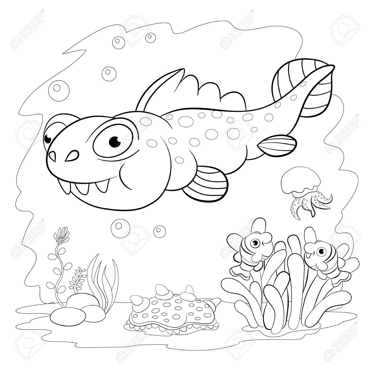 Libro De Colorear. Dinosaurio Divertido En Un Mar. Dibujos Animados ...