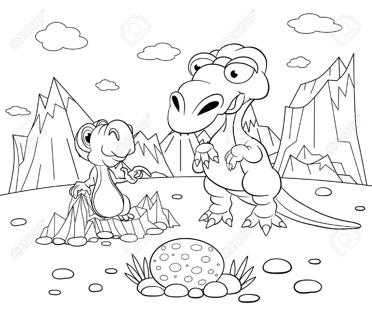 Libro De Colorear. Dinosaurio Divertido En Un Paisaje Prehistórico ...