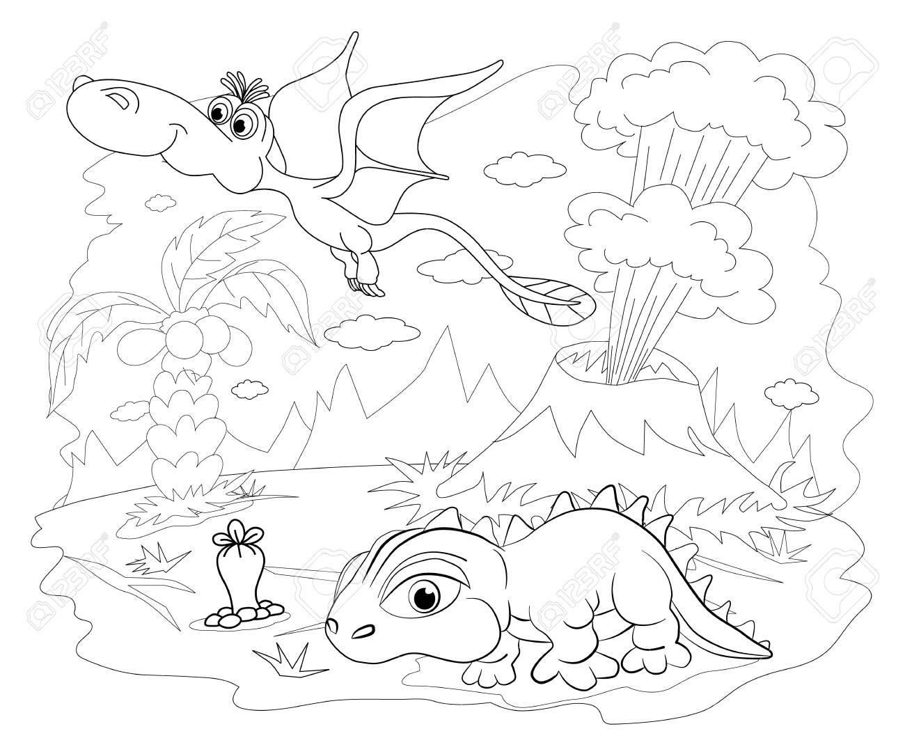 Livre De Coloriage Drôle De Dinosaure Dans Un Paysage Préhistorique Dessin Animé Et Vecteur Isolé Caractère Sur Fond