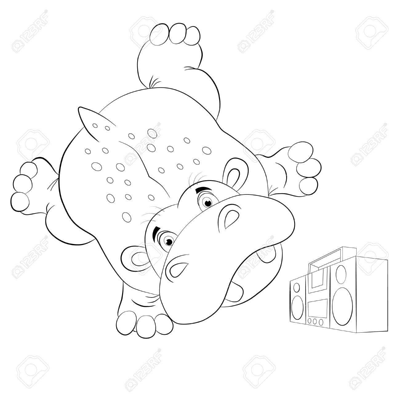El Hipopótamo Divertido De Dibujos Animados Bailando Breakdance Y ...
