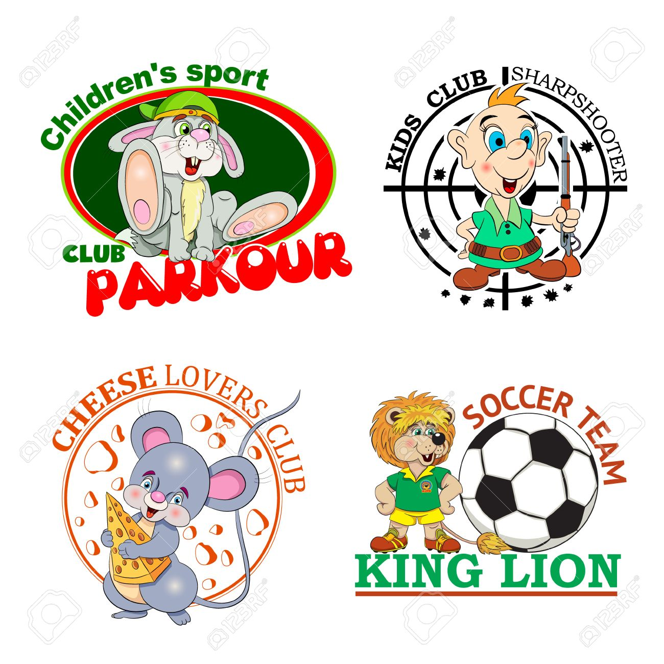 Set of four color logos for children's clubs with cartoon characters on white background. - 50705263