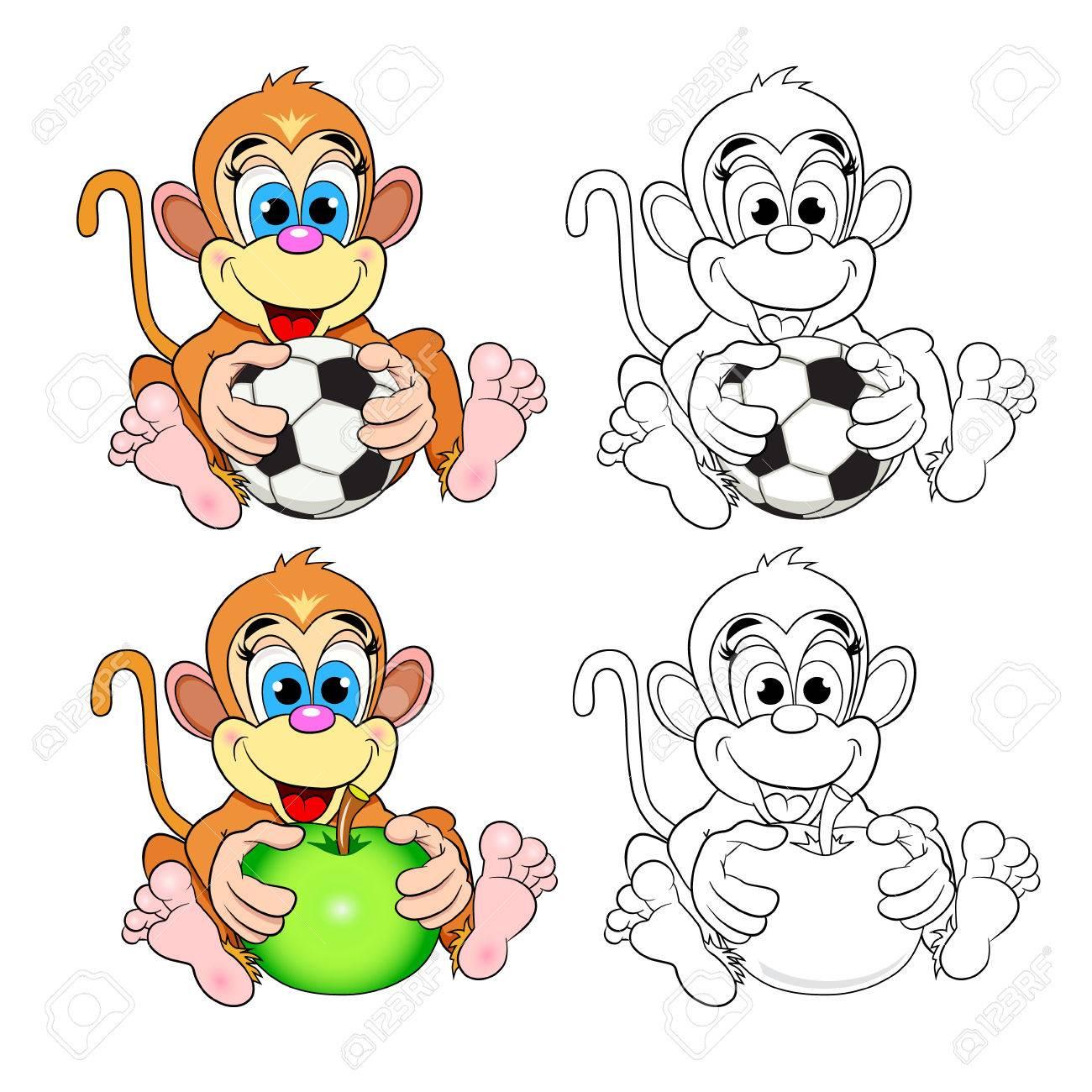 Lustiger Affe Mit Einem Apfel Und Einem Fußball. Farbbild Und Ein ...