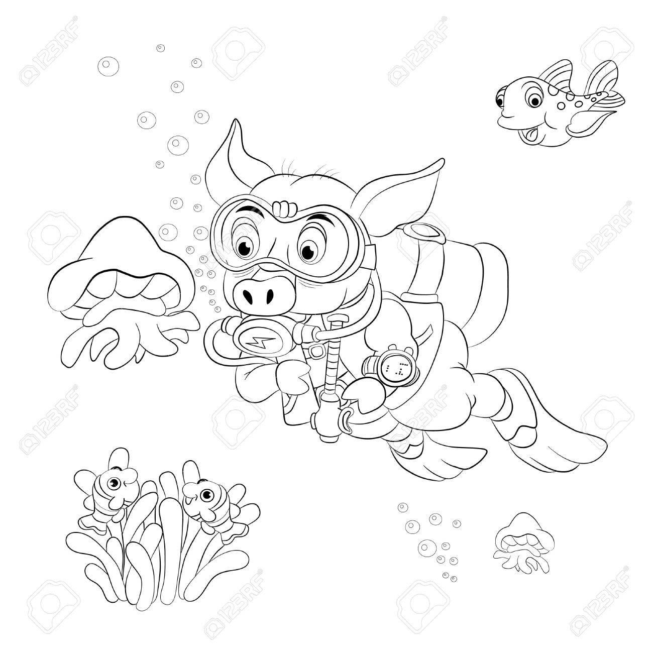 Funny Cartoon Pig Diver Looking At Jellyfish Coloring Book Stock Vector