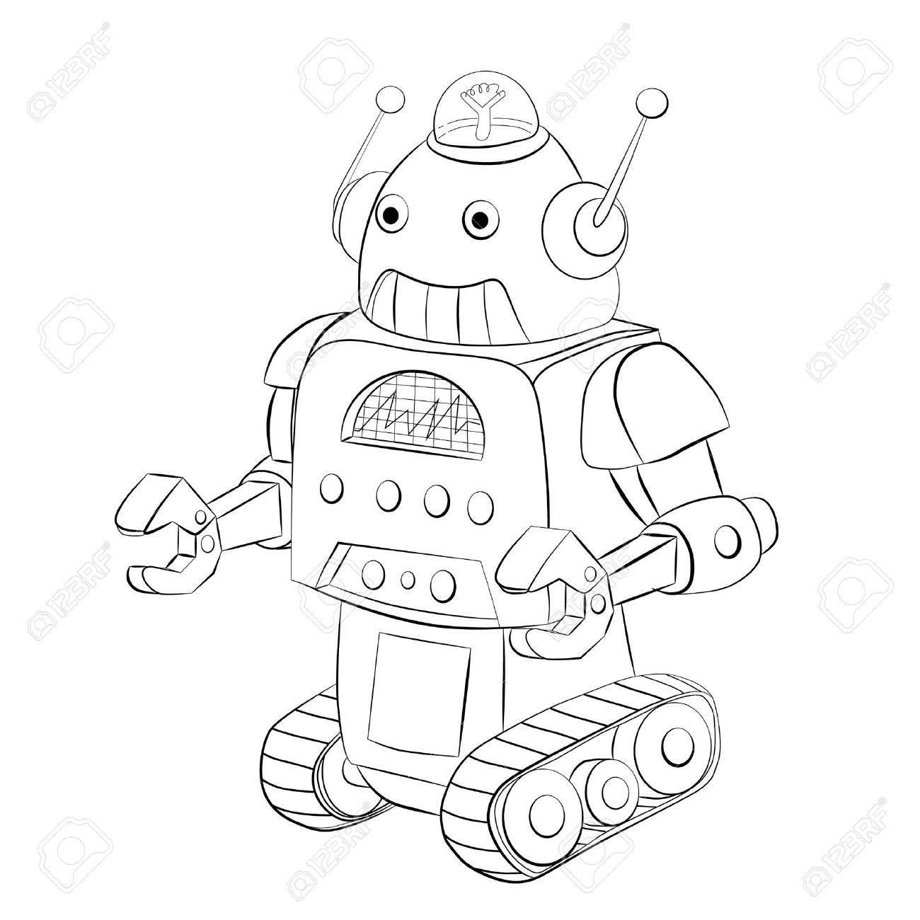 Cartoon Robot Crawler Coloring Book Stock Vector