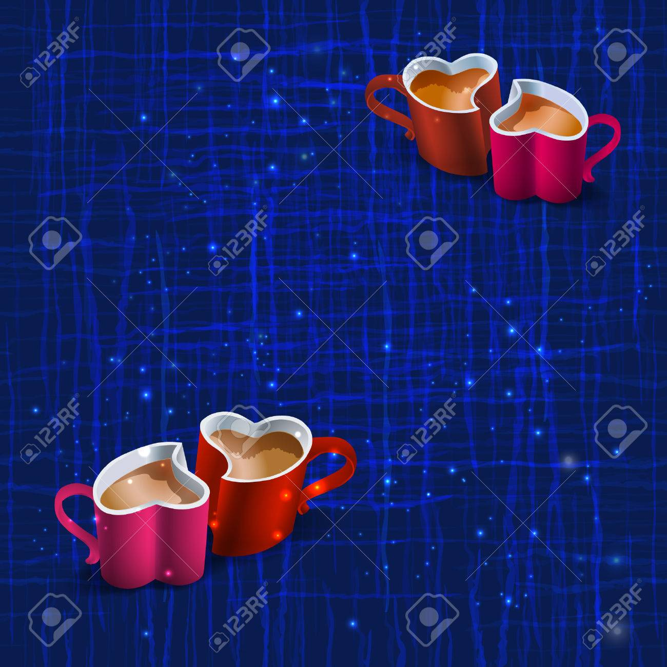 Seamless dark blue texture with wavy lines intersecting and light stars with red cup in the shape of heart. Vector abstract background. - 50704988
