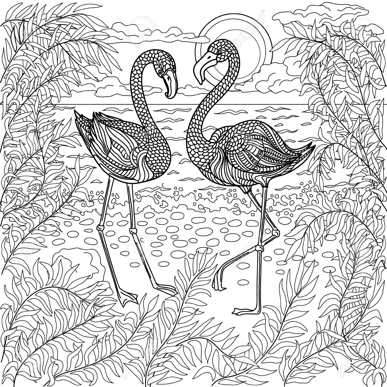 Coloring sheets for adults flamingo - Hand Drawn Birds Flamingos In A Branches Tree On The Sea Beach Coloring Page