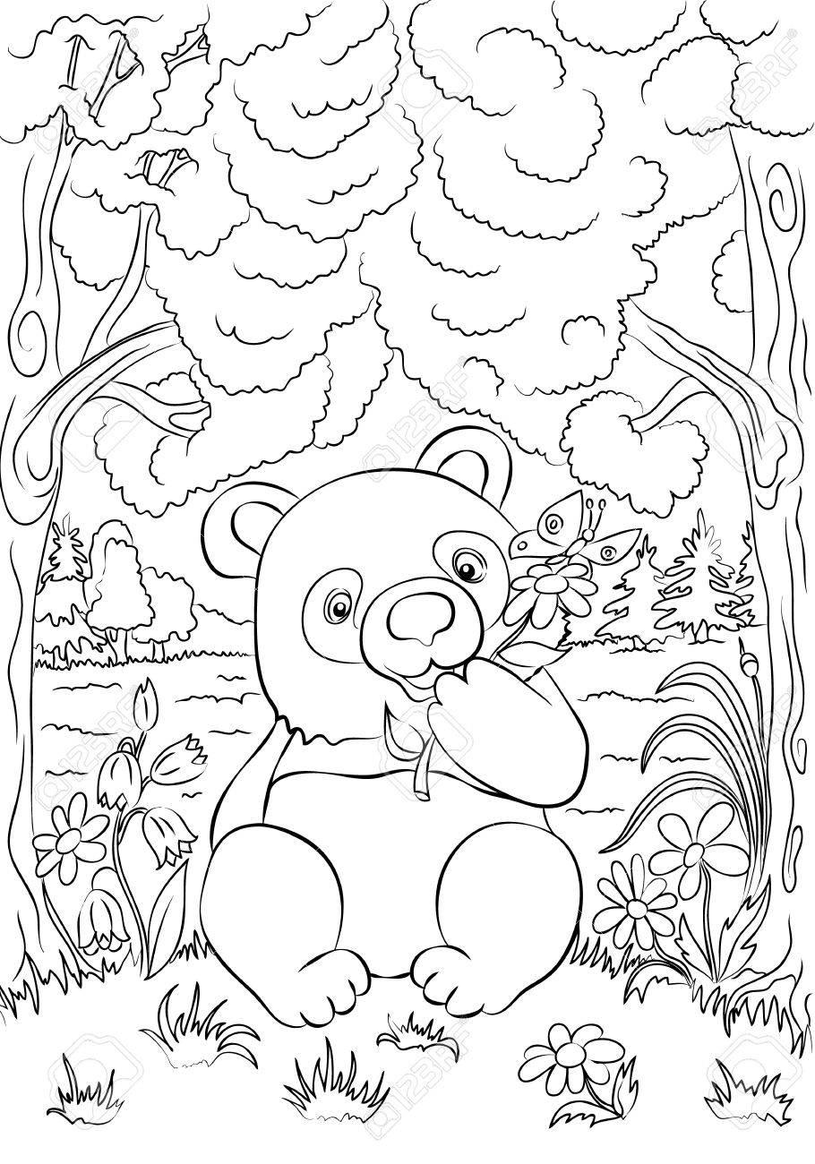 デイジーの花と野生の森林の蝶と面白い漫画のパンダ塗り絵のイラスト