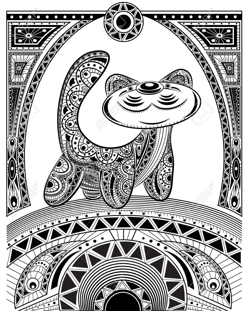 Stylized Vector Cat Zentangle Isolated For Relax And Meditation Collection Of Animals Your