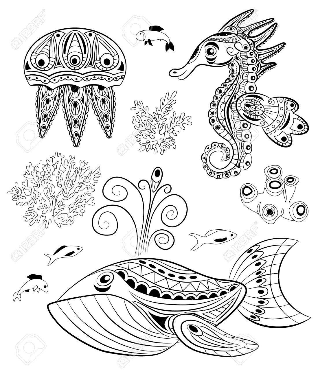 落書き海の動物のセットです塗り絵のイラスト素材ベクタ Image