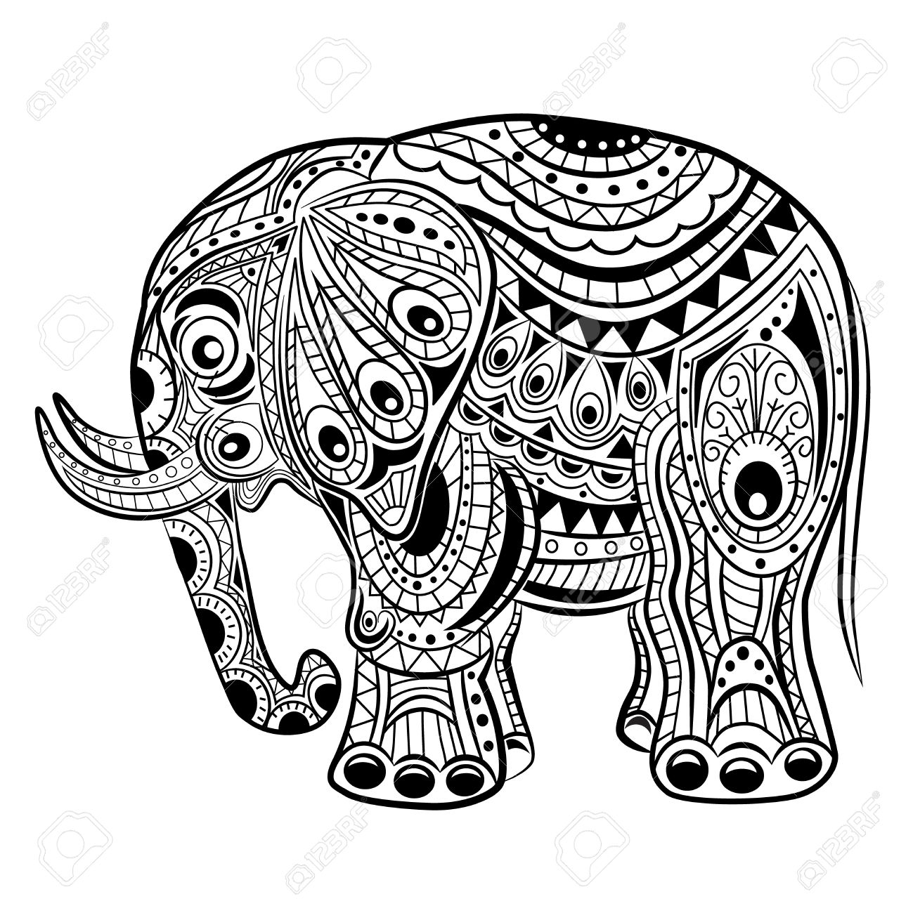 Hand Drawn Ink Zentangle Elephant For Relax And Meditation. Vector ...