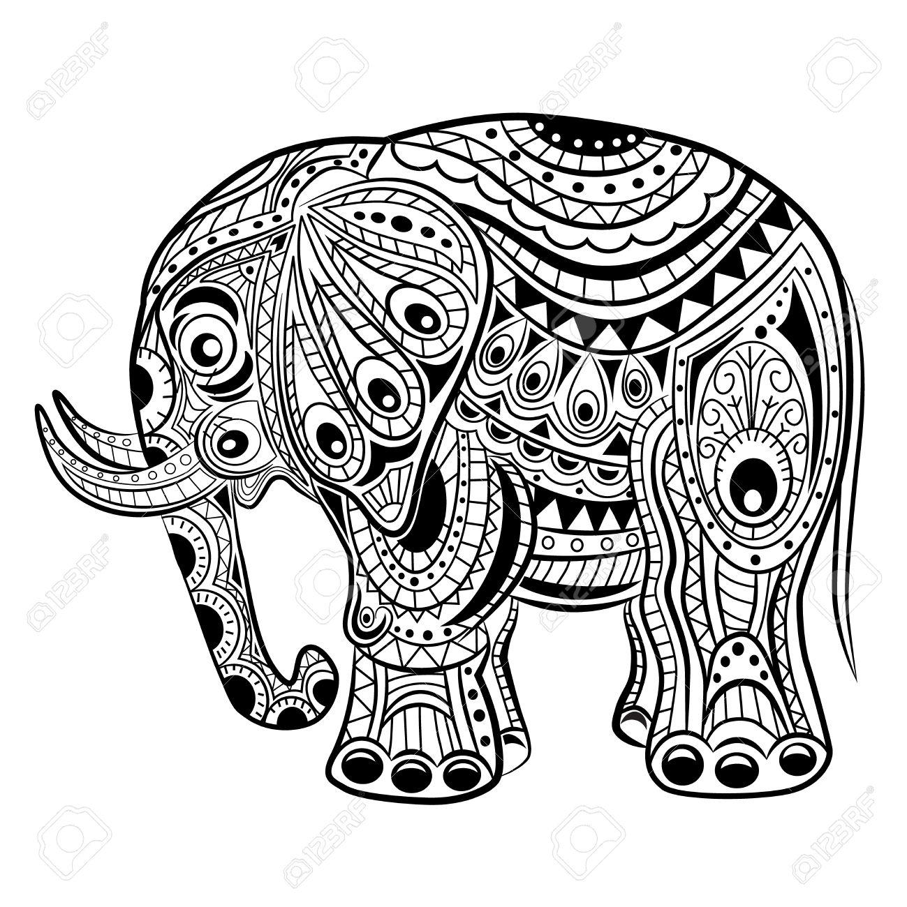 Hand Gezeichnet Tinte Zentangle Elefant Für Entspannung Und ...