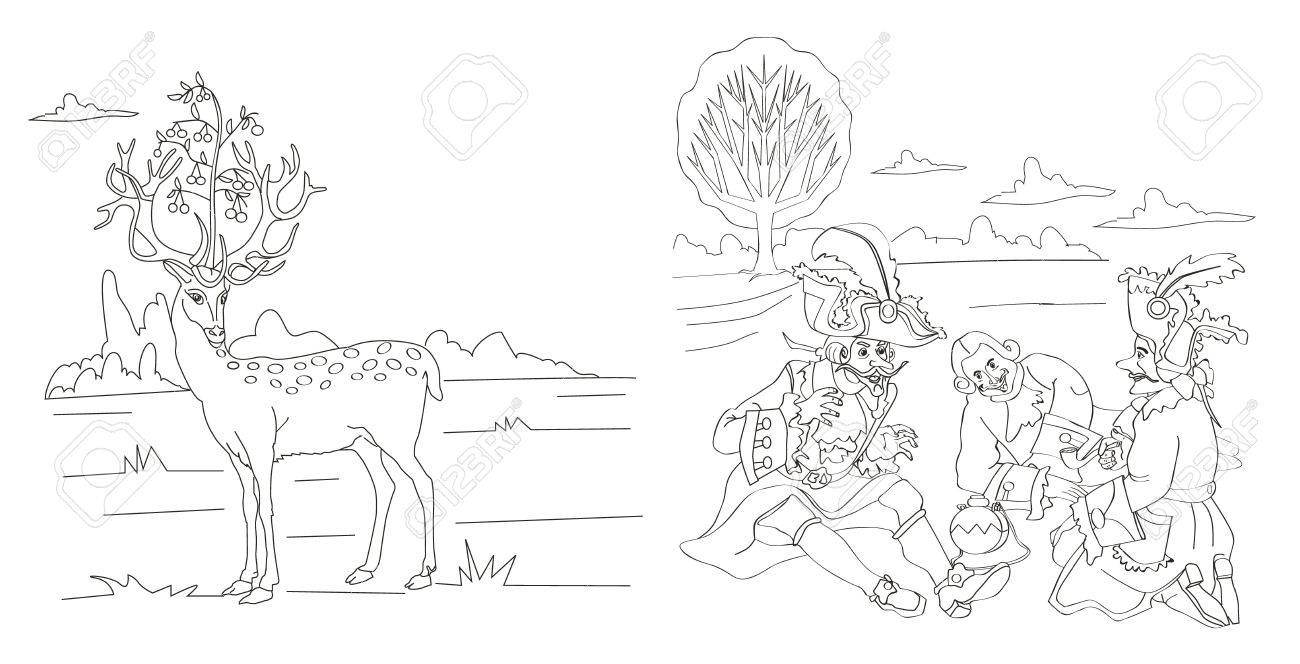 coloring page stories of baron munchausen deer on the head
