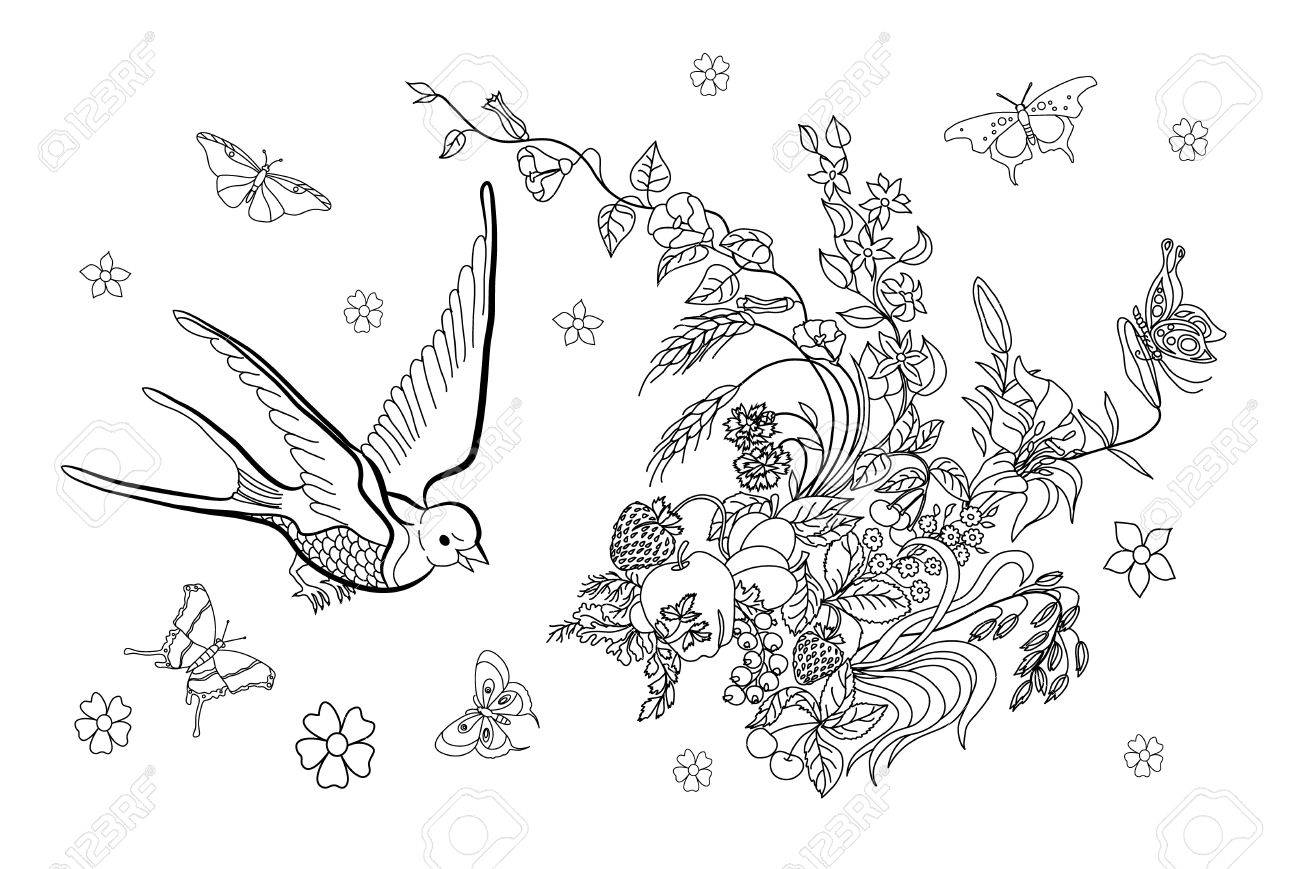 Hermosa Páginas Para Colorear De Flores Y Mariposas Fotos ...