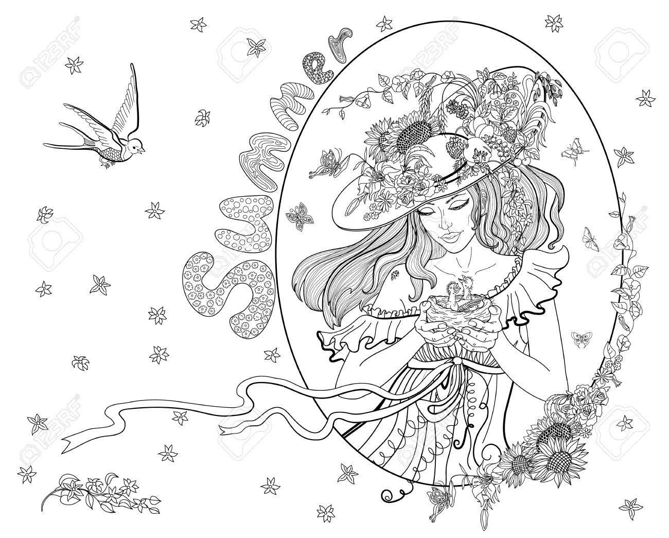 Coloriage Adulte Ete.Coloriage Pour Les Adultes Avec Une Fille De L Ete Les Fleurs Les Oiseaux Et Les Papillons