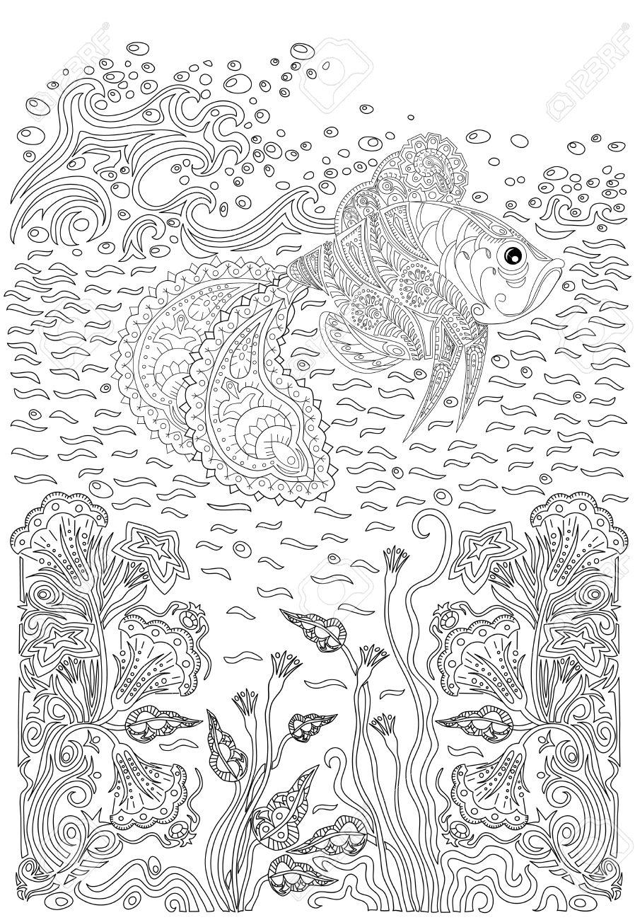 Hand drawn poissons à bosse dans les vagues et le stress d'algues coloriage  avec des détails élevés, isolé sur fond de modèle, illustration dans le ...