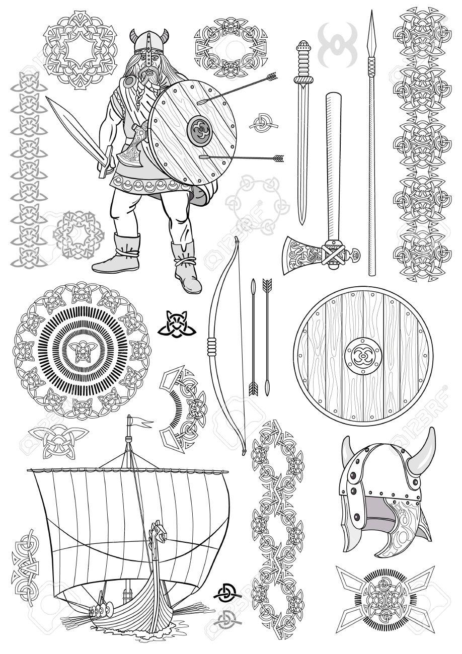 Réglez La Vie Des Vikings Man Viking Bateau à Rames épée Casque