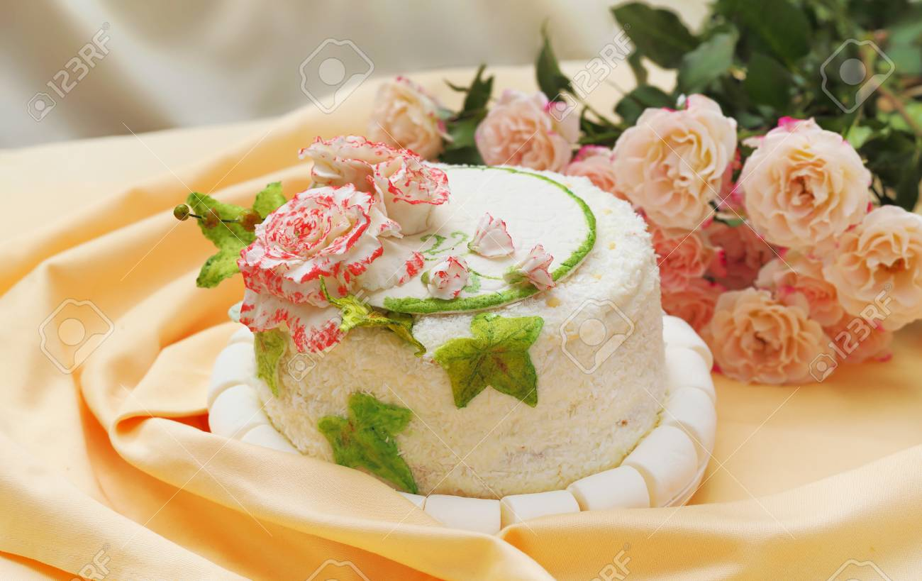Celebratory Cake Decorated With Marzipan Roses And Ivy Leaves ...