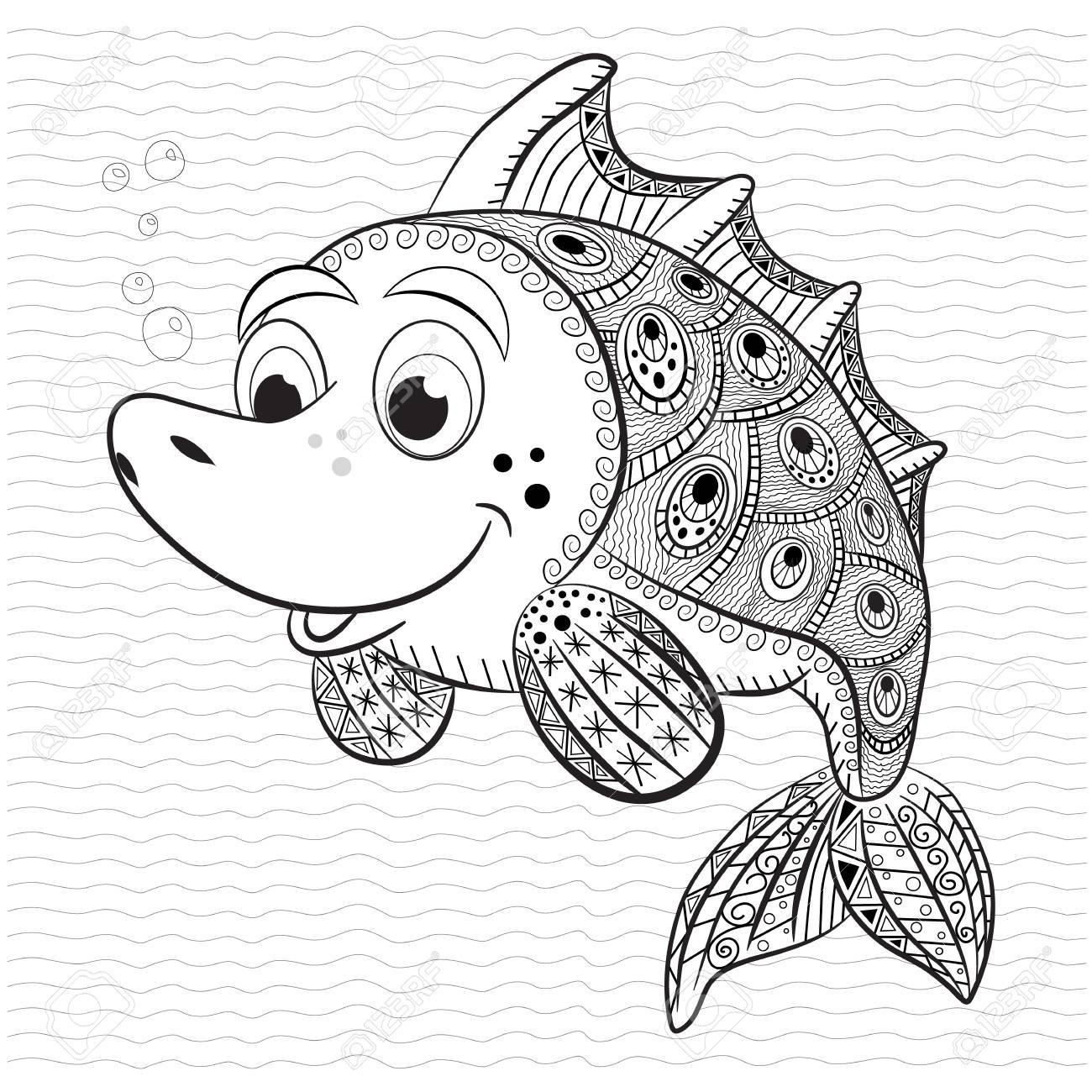 Libro Para Colorear Antiestrés Para Adultos Y Niños. Pescados ...