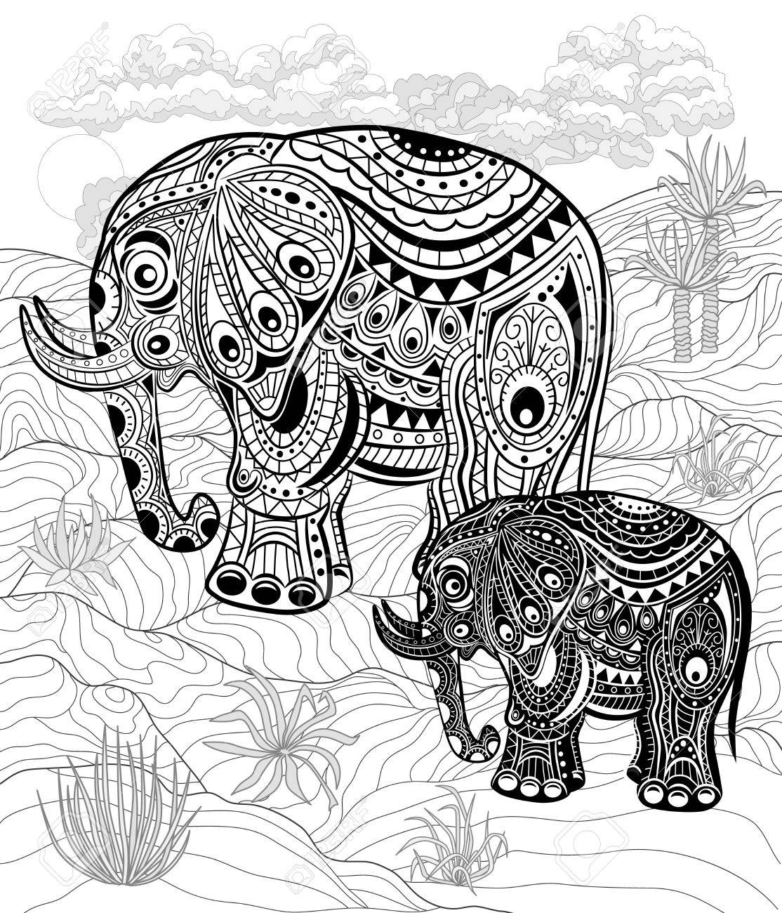 Hand Drawn Ink Elephants For Relax And Meditation. Black And ...