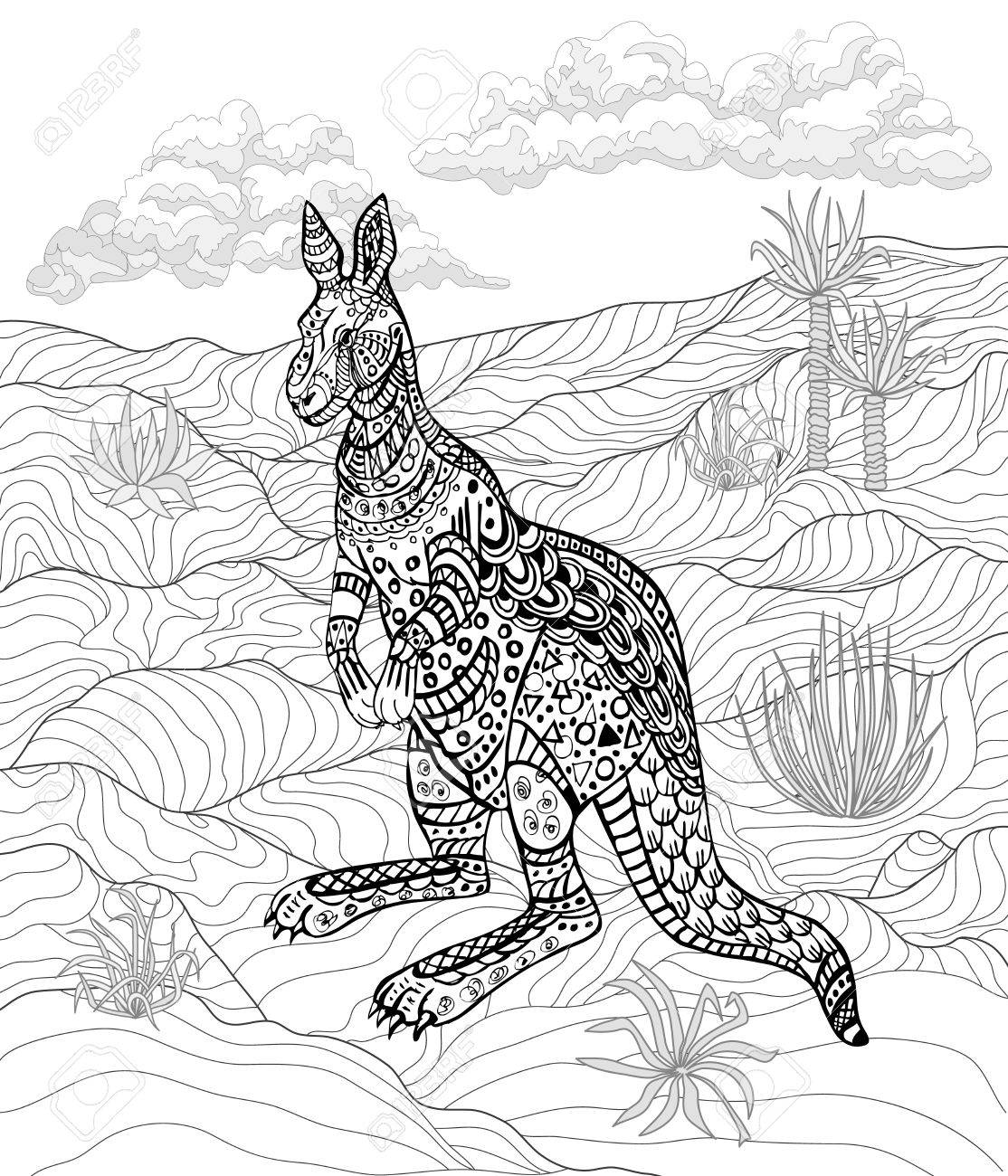 hand drawn ink kangaroo for relax and meditation royalty free