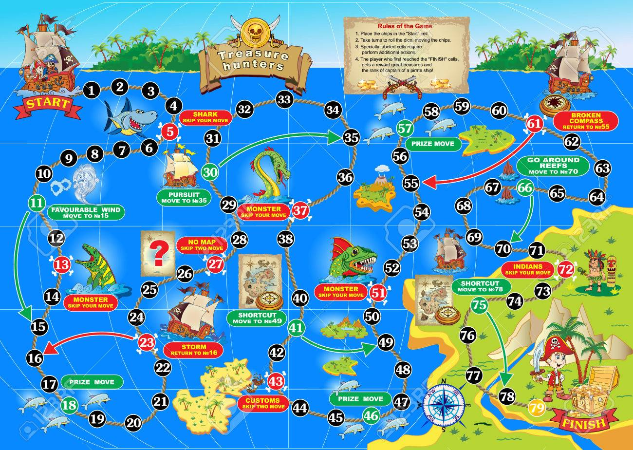 Illustration of board game for children treasure hunters spend illustration of board game for children treasure hunters spend a pirate ship on the gumiabroncs Images
