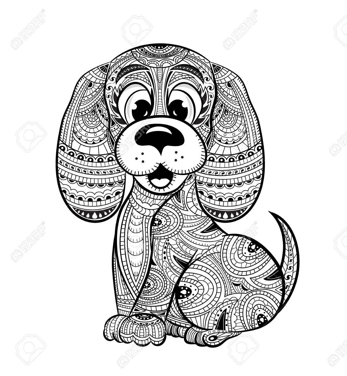 Antiestrés Libro Para Colorear Perro Para Adultos. Dibujado Mano ...