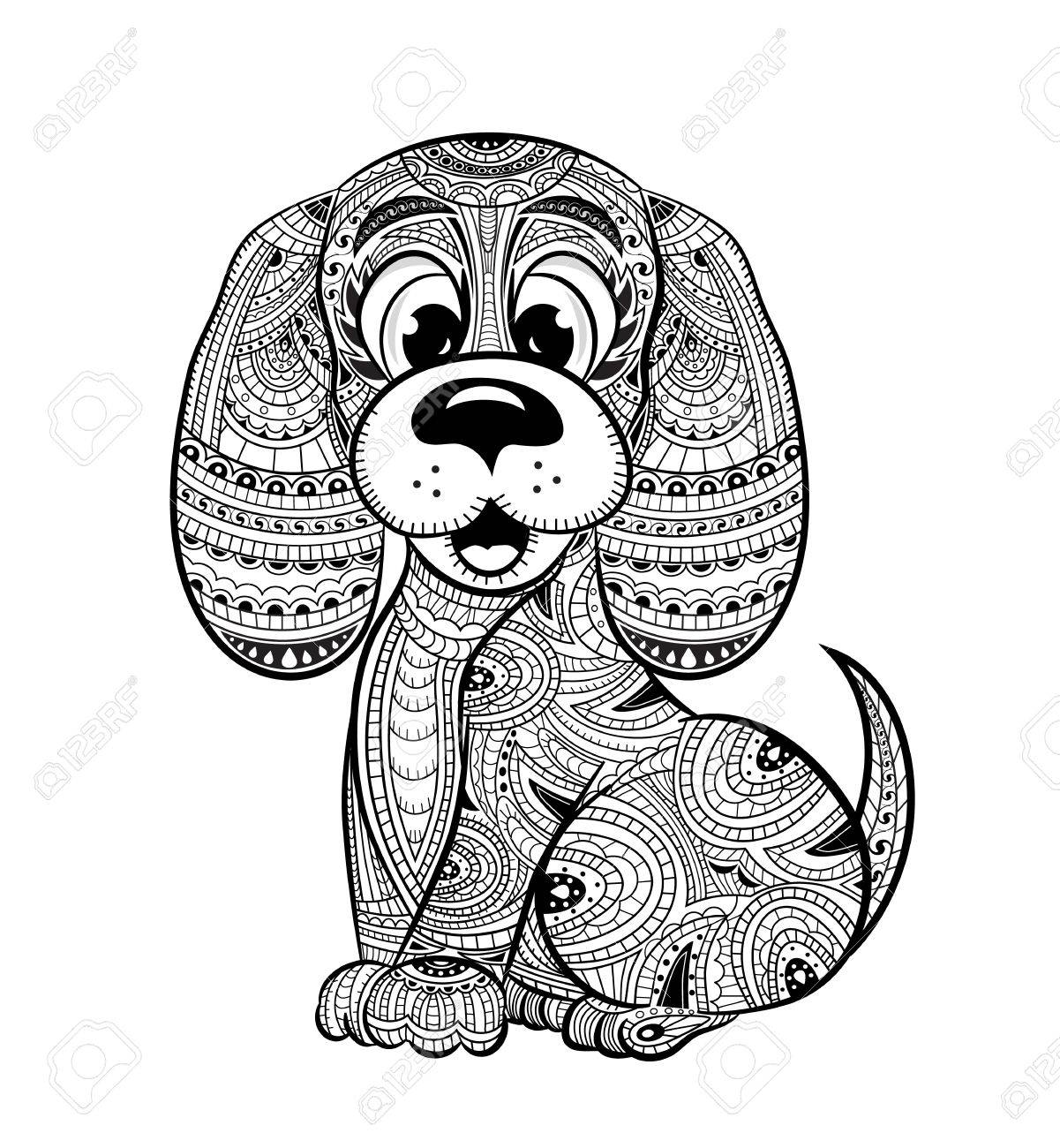 Dog Anti Stress Coloring Book For Adults Black And White Hand Drawn Doodle