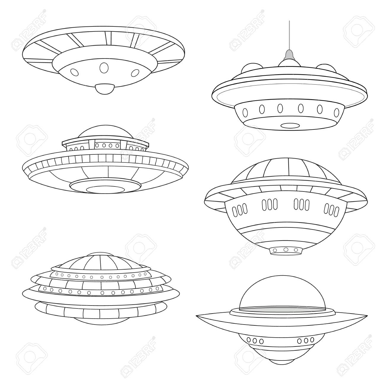 Set Of Flying Saucers Line Art White Background Royalty Free Cliparts Vectors And Stock Illustration Image 95364624