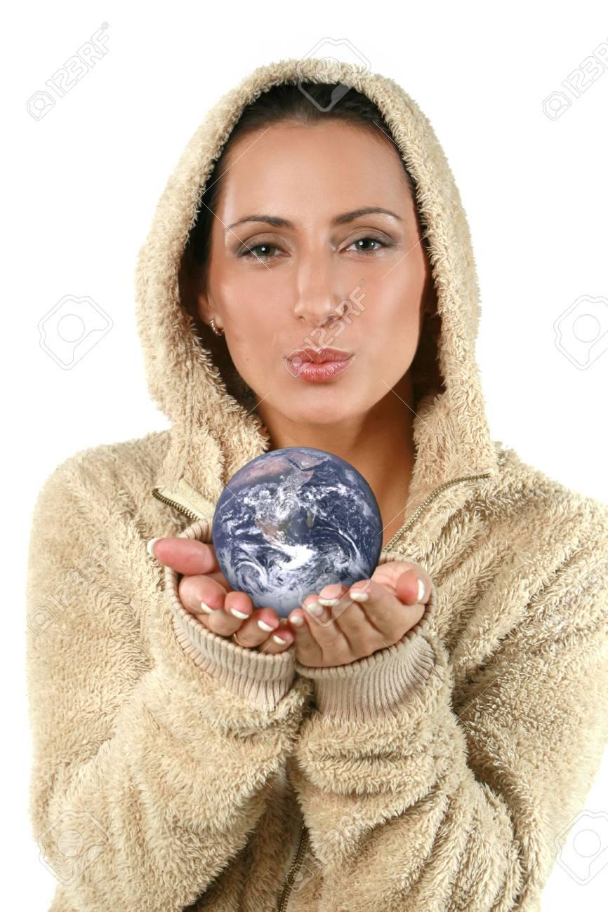 Beautiful young woman giving earth Stock Photo - 3654244