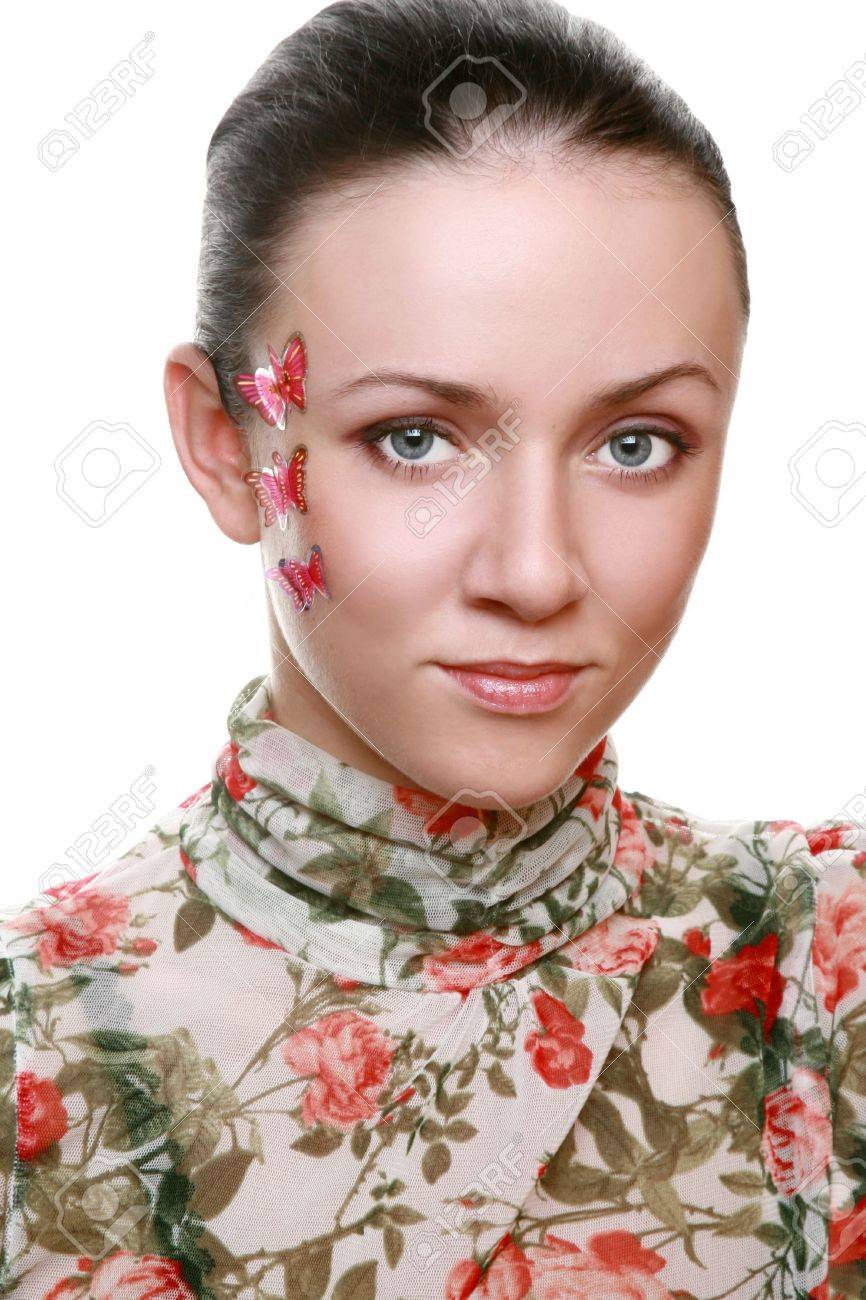 Portrait of the Young beautiful girl with the butterfly on face Stock Photo - 6431350