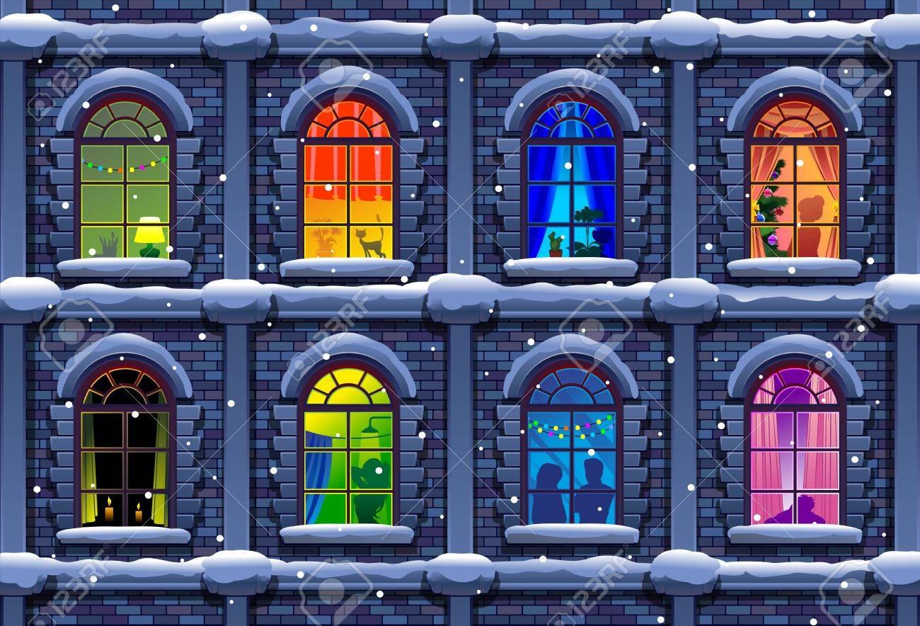 winter night city with windows - 50484468