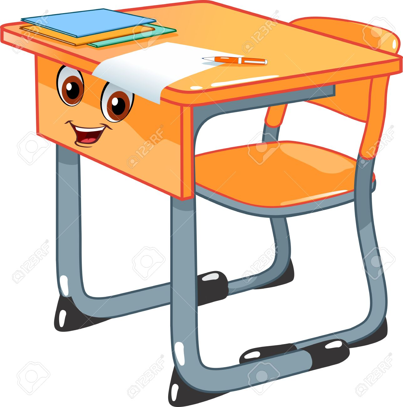 school desk and a chair royalty free cliparts vectors and stock rh 123rf com Teacher Desk Clip Art old school desk clipart